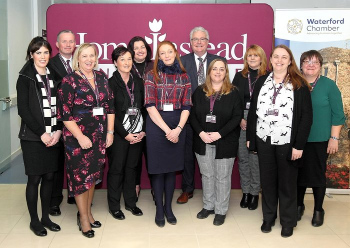 The Home Instead Senior Care team celebrating 10 years in business at Cleaboy Business Park. Pictured are Michael Connolly, Managing Director, Danette Connolly, Director of Care and staff members, Mark Bourke, Linda Lanigan, Yvonne Power, Edel Murphy, Louise Phelan, Marion Sheppard, Marguerite Long, Breda Russell and Lisa Burfort. Photo: Noel Browne