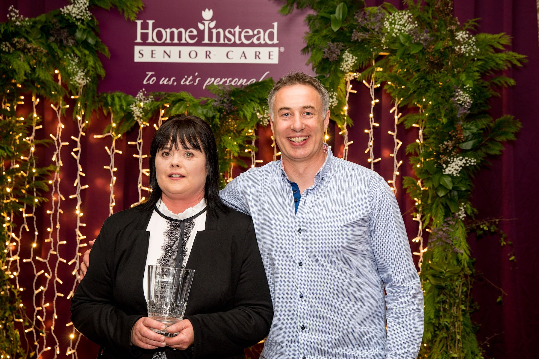 Bernie McHugh, Ulster CAREGiver of the Year 2019, and Martin Murphy, Owner of Home Instead Senior Care Donegal, at Home Instead Senior Care's CAREGiver of the Year Awards in Dublin on Saturday May 18 2019. Photo Credit: Conor Healy
