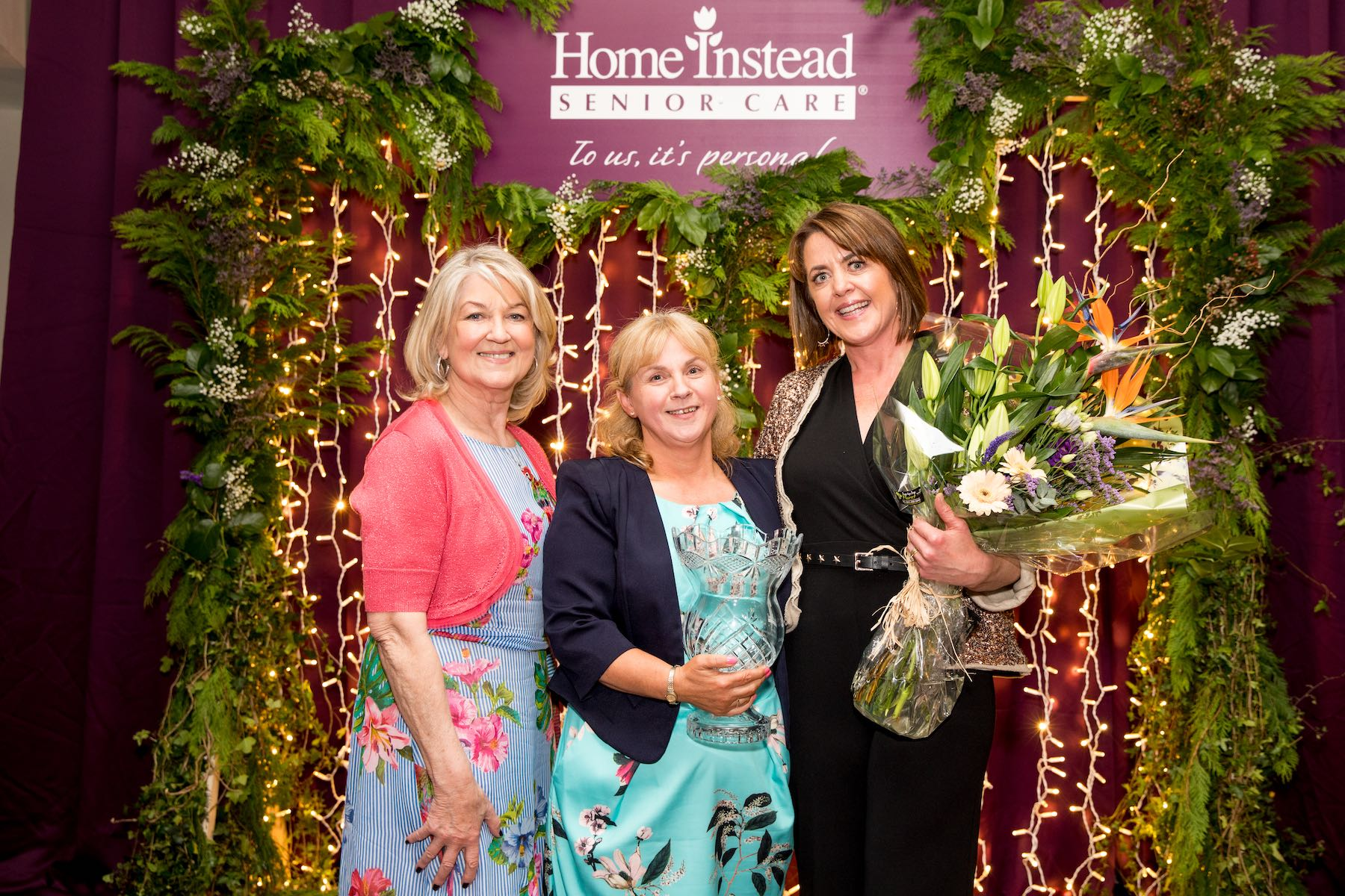 L-R: Home Instead Brand Ambassador Thelma Mansfield with Bridget O Callaghan, National and Leinster CAREGiver of the Year 2019, and Amanda Bohan, Owner, Home Instead Senior Care Kildare, at Home Instead's CAREGiver of the Year Awards at the Royal Marine Hotel in Dún Laoghaire, Co Dublin, on Saturday May 18, 2019. Photo Credit: Conor Healy