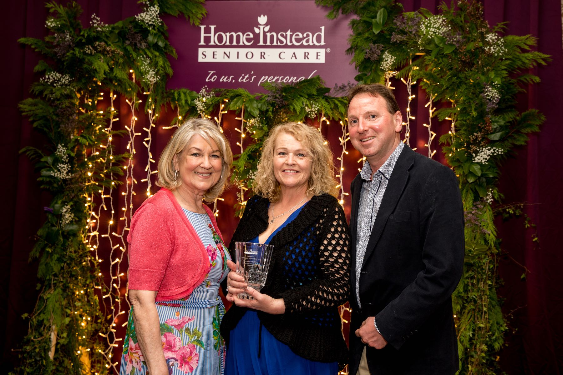 L-R: Home Instead Brand Ambassador Thelma Mansfield, Munster CAREGiver of the Year Julie-Anne O'Sullivan and General Manager of Home Instead Senior Care Dermot Carberry at Home Instead's CAREGiver of the Year Awards at the Royal Marine Hotel in Dún Laoghaire, Co Dublin on Saturday May 18 2019