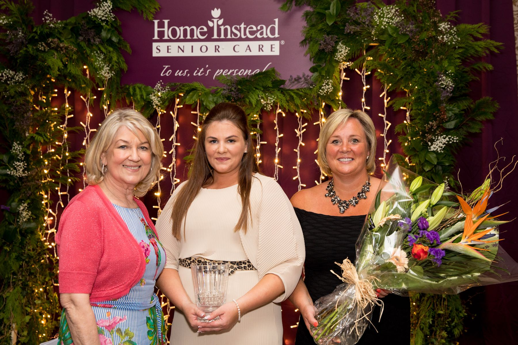 L R Home Instead Brand Ambassador Thelma Mansfield with Pamela Griffin Connaught CAREGiver of the Year 2019 and Suzanne Ryan General Manager of Home Instead Senior Care Galway