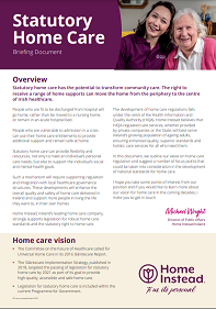 Home Instead urges progress on statutory home care in new briefing document